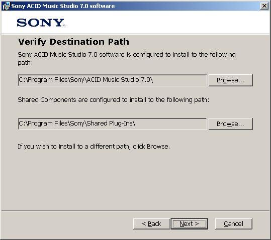 ACID install destination paths