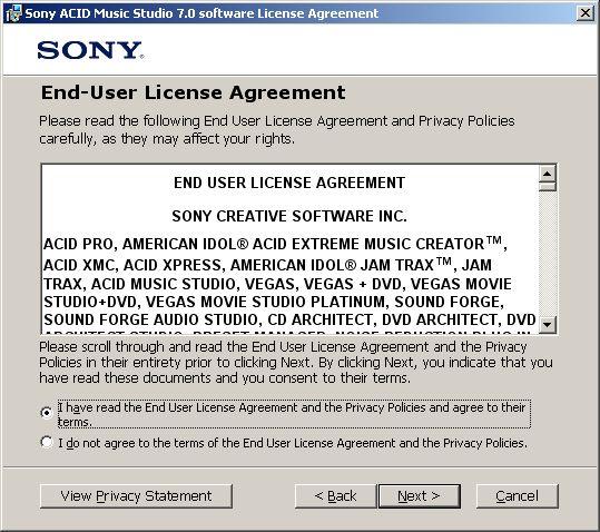 ACID install license