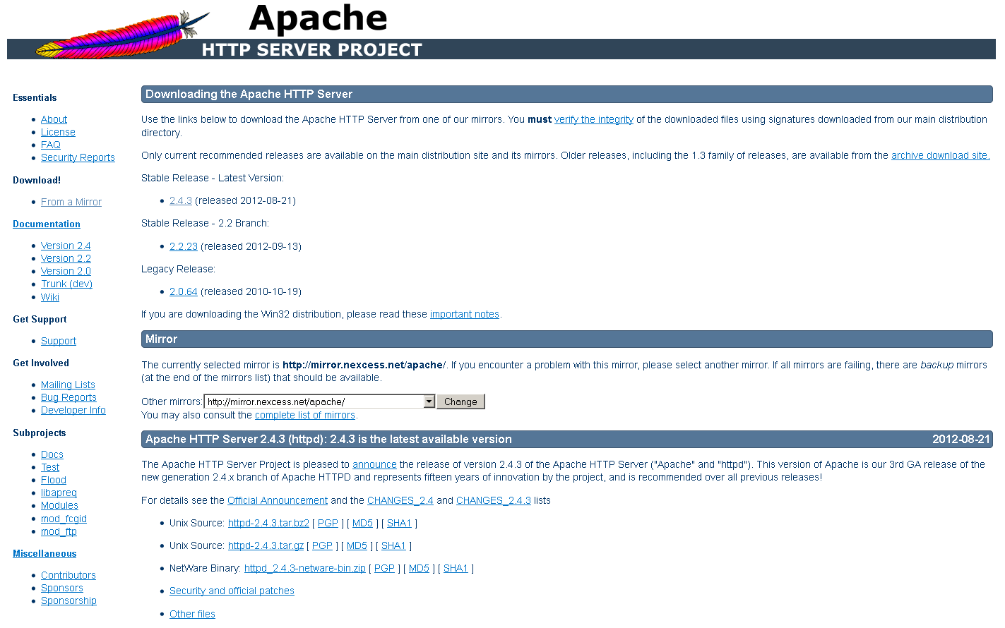 Apache Foundation download page