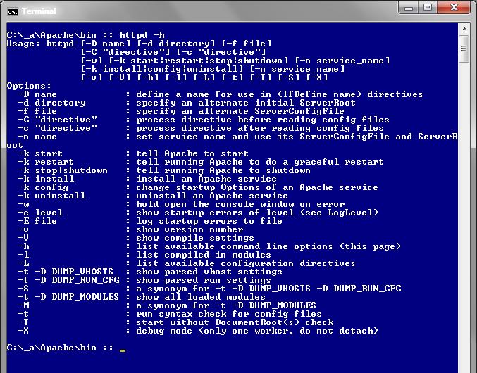 Apache command-line options