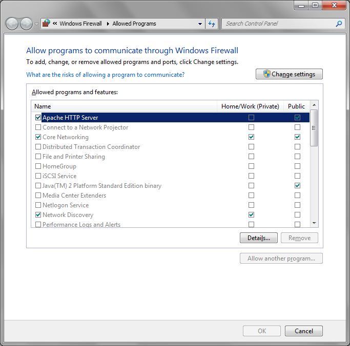Windows Firewall exception