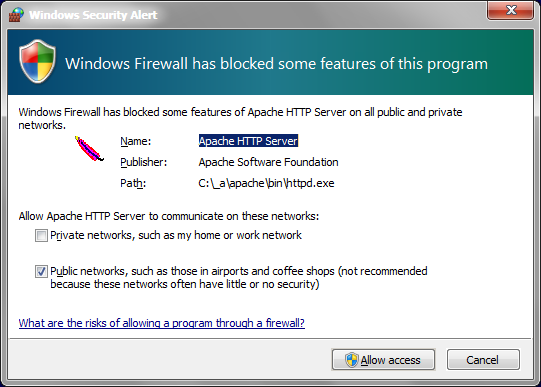 Windows Firewall message