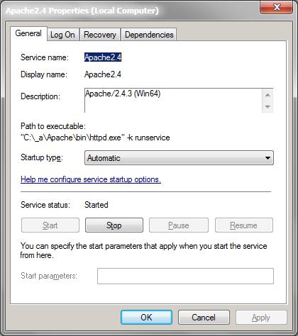 Windows services Apache context menu