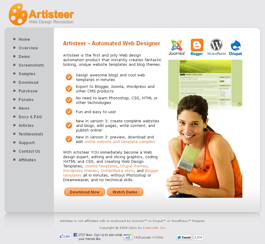 Artisteer home page