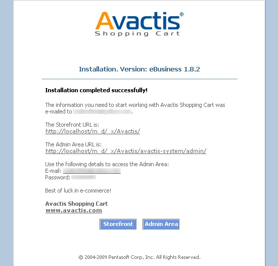 Avactis installation complete