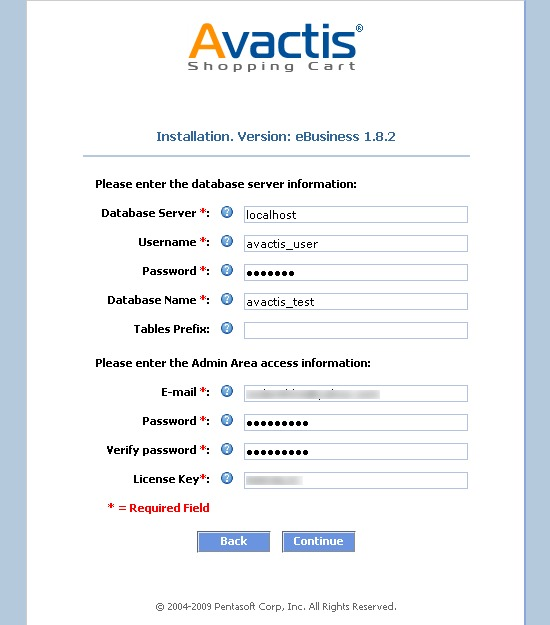 Avactis installation configuration settings entered