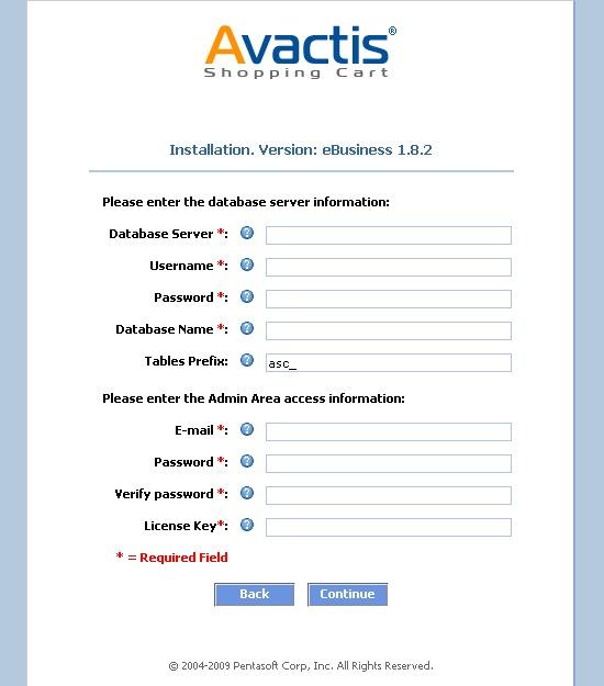 Avactis installation configuration settings initial