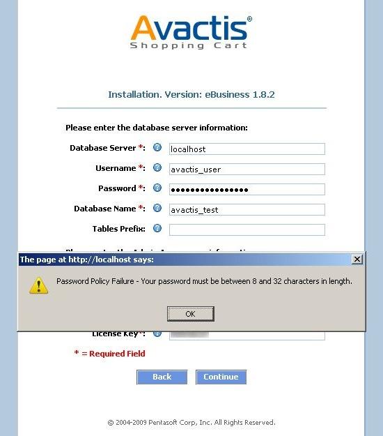 Avactis installation password error