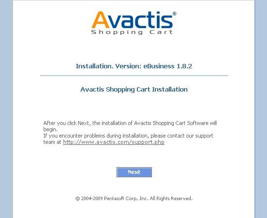 Avactis installation start