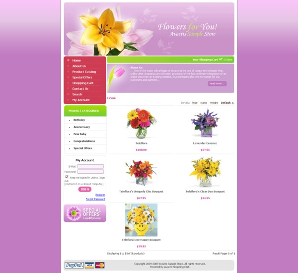 Avactis store home page
