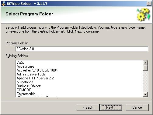 BCWipe install Program menu