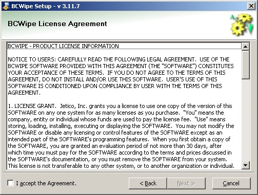 BCWipe install ULA