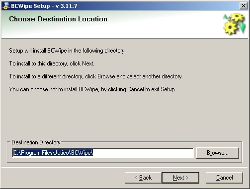 BCWipe install destination