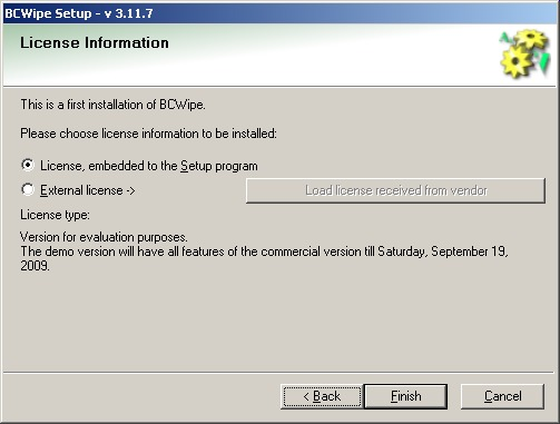 BCWipe install license info