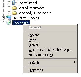 Recycle Bin context menu