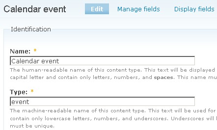 Drupal calendar event content type