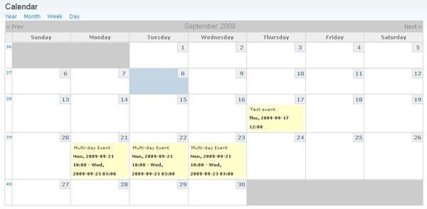 Drupal calendar