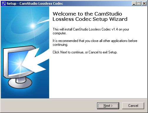 Codec welcome dialog box