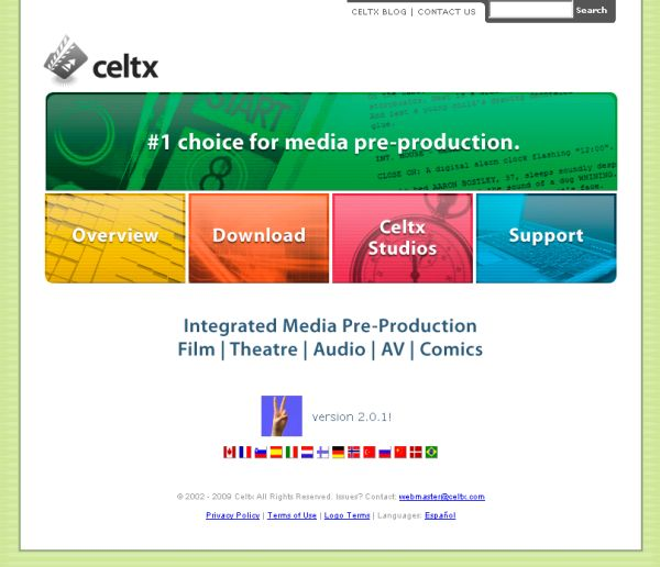 Celtx Free Screenplay Software page for website developer