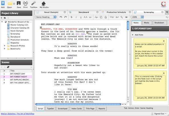 Celtx screenplay editing