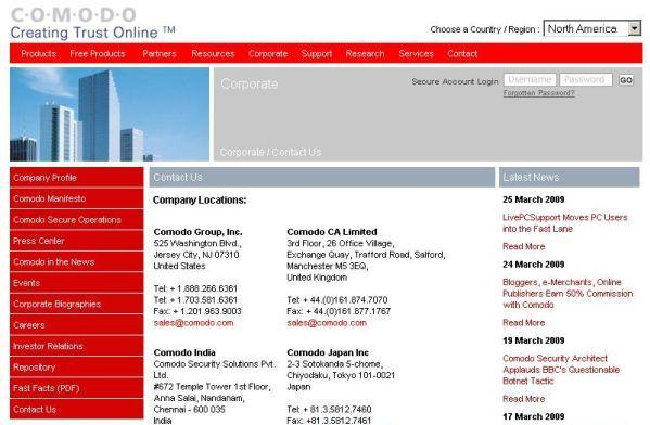 Comodo home page