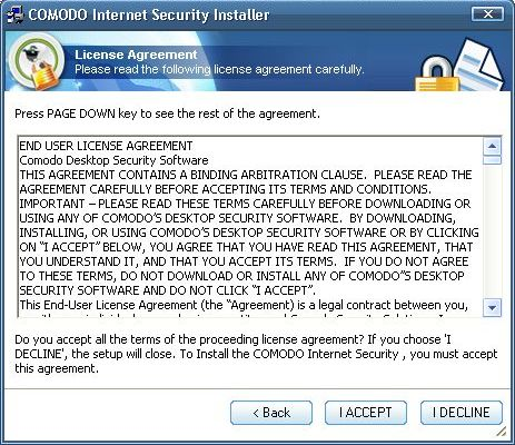 Installation - license agreement