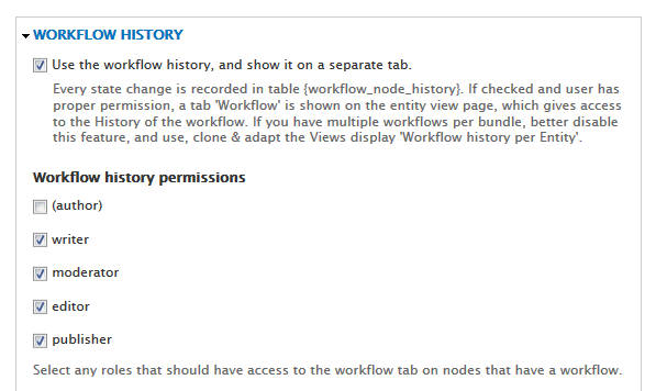 Workflow history permissions