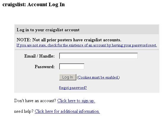 Craigslist account login