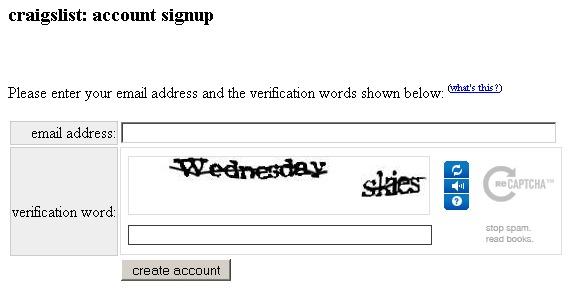 Craigslist account signup