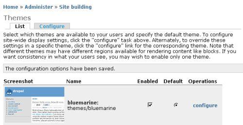 Bluemarine theme enabled and default