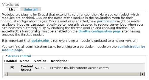 Content Access module enable