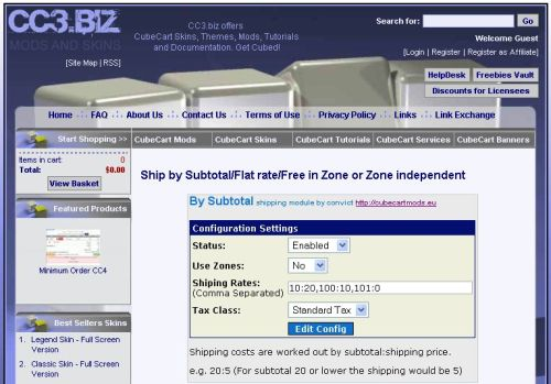 Shipping by Subtotal page