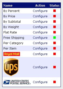 Shipping modules default