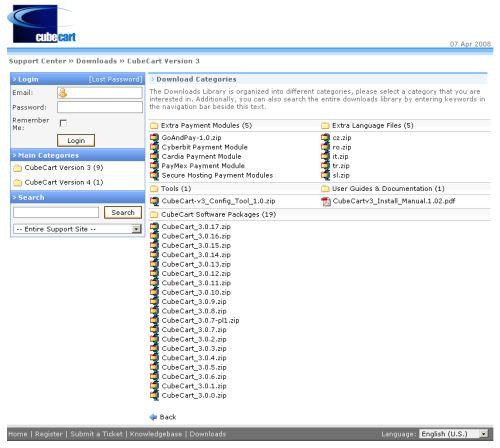 CubeCart v3 download page