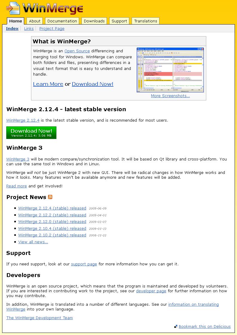WinMerge page