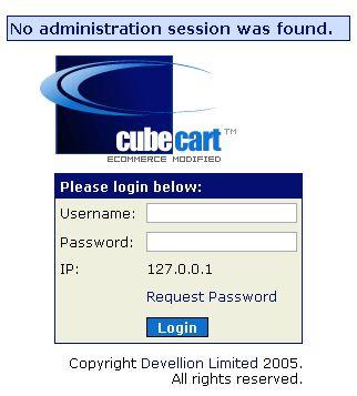 CubeCart admin login