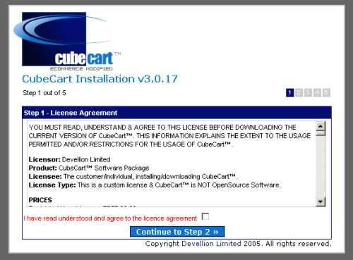 CubeCart installation 1 - license agreement