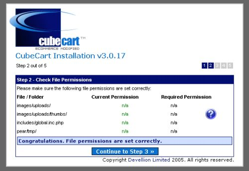 CubeCart installation 2 - file permissions check