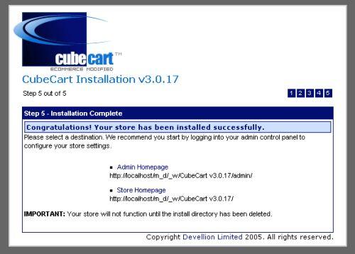 CubeCart installation 5 - installation complete