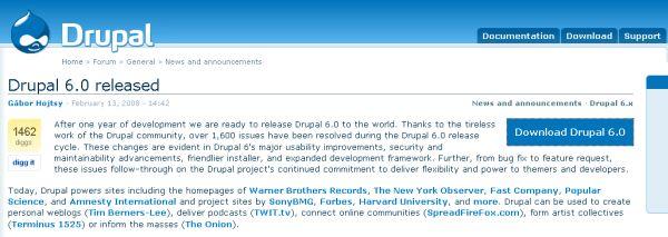 Drupal 6.0 download page