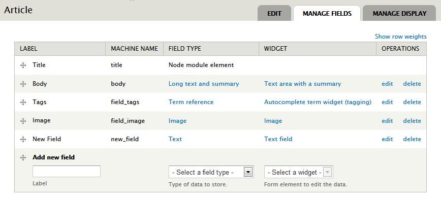 Article type fields