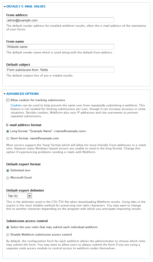 Webform settings for email, etc