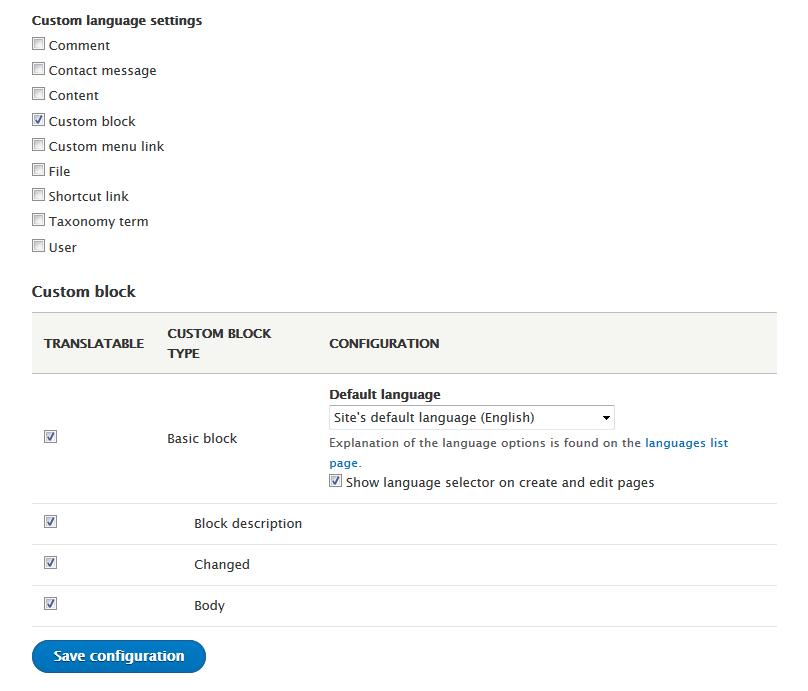 Block language configuration