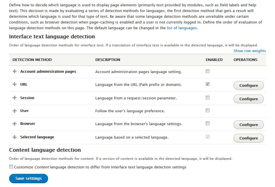 Language detection configuration