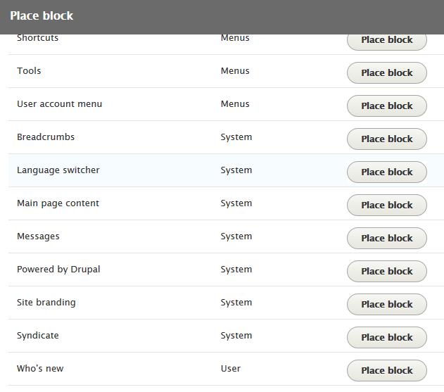 Language picker block placement