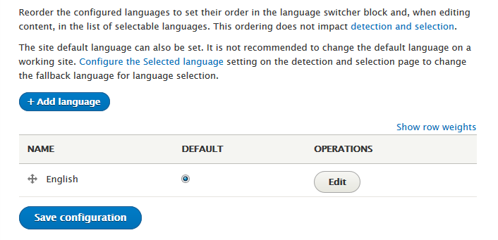 Languages configuration