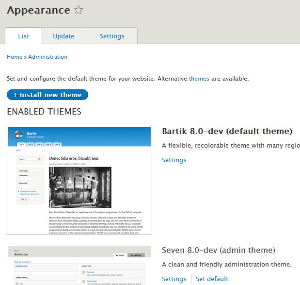 Drupal 8 core themes