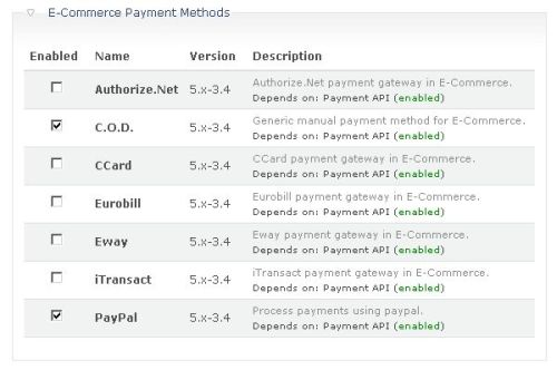 Payment Methods modules enabled