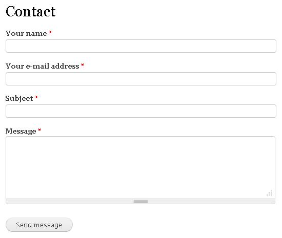Default contact form