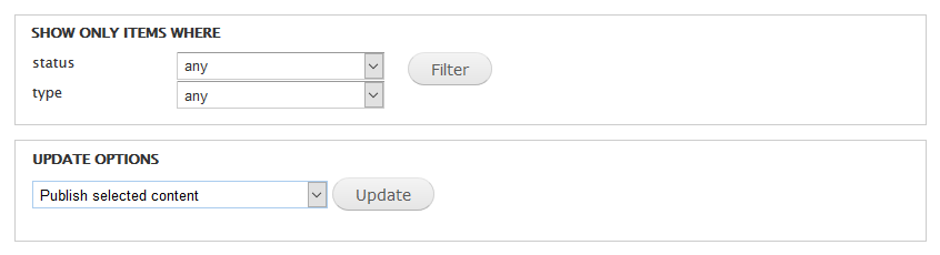 Content admin filters and operations